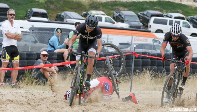 Rochette had an unwanted minute in the sand. 2017 Sea Otter Classic cyclocross race. © J. Silva / Cyclocross Magazine