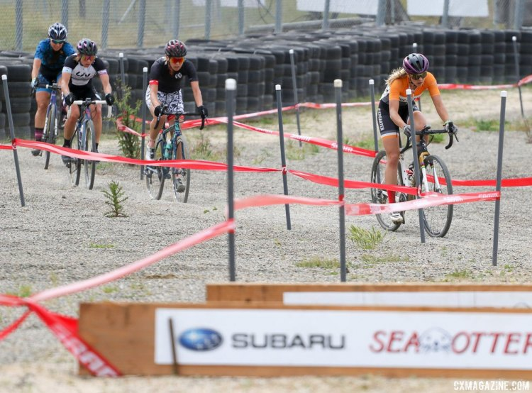 Caitlin Bernstein lead the chase, finishing third. 2017 Sea Otter Classic cyclocross race. © J. Silva / Cyclocross Magazine