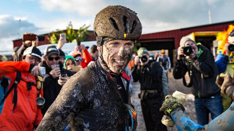 Sven Nys is all smiles after coming close but not winning the obligatory tattoo at the 2016 SSCXWC. © Ryan Richardson