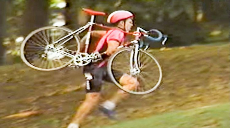 Portland cyclocross star Michael Sylvester at work while training on average four hours a day in the 80s.