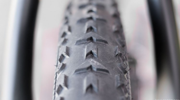 Vittoria's new 40c Terreno Mix TNT Tubeless tires adds volume to help tubeless cyclocross and gravel racers lower pressure and decrease rolling resistance over the bumps. 2017 Sea Otter Classic. © Cyclocross Magazine