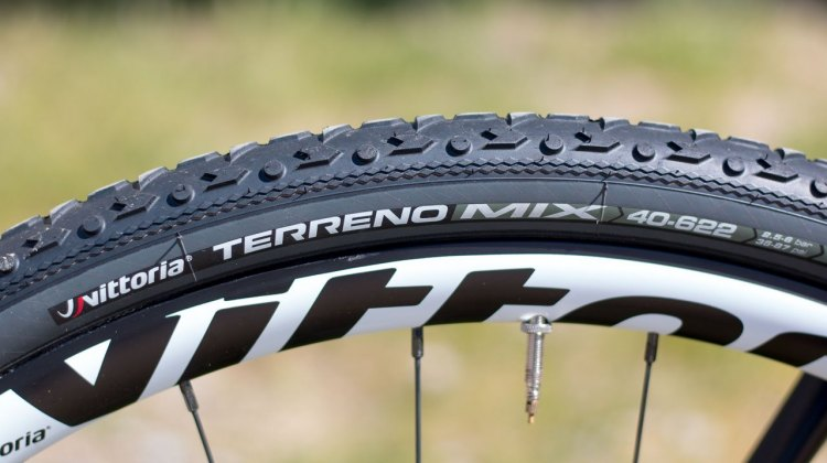 Vittoria's new 40c Terreno TNT Tubeless tires bring the company's new tubular treads to larger volume tubeless clinchers. 2017 Sea Otter Classic. © Cyclocross Magazine