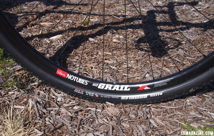 The Rada rolls on Stan's NoTubes ZTR Grail wheels with Maxxis Rambler tires in 700x40c size. 2017 Sea Otter Classic. © G. Kato / Cyclocross Magazine
