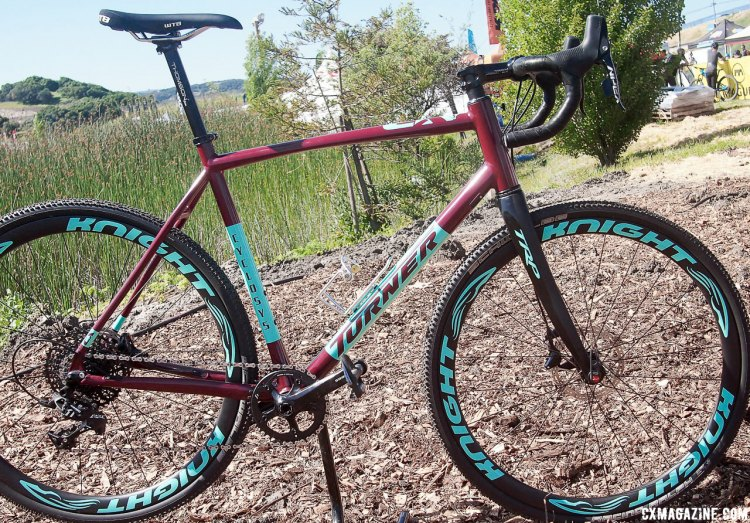 The Wine and Glacier finish is available on the Turner Cyclosys for $2,647 but the Knight carbon hoops is a $1,400 upgrade. 2017 Sea Otter Classic. © G. Kato / Cyclocross Magazine