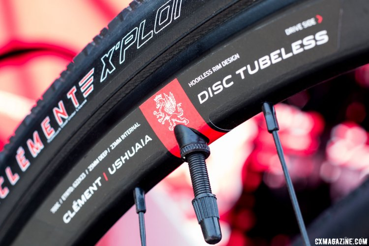 The Clement Ushuaia Disc Tubeless wheels use a hookless rim design. Tape and valves are included. 2017 Sea Otter Classic. © Cyclocross Magazine