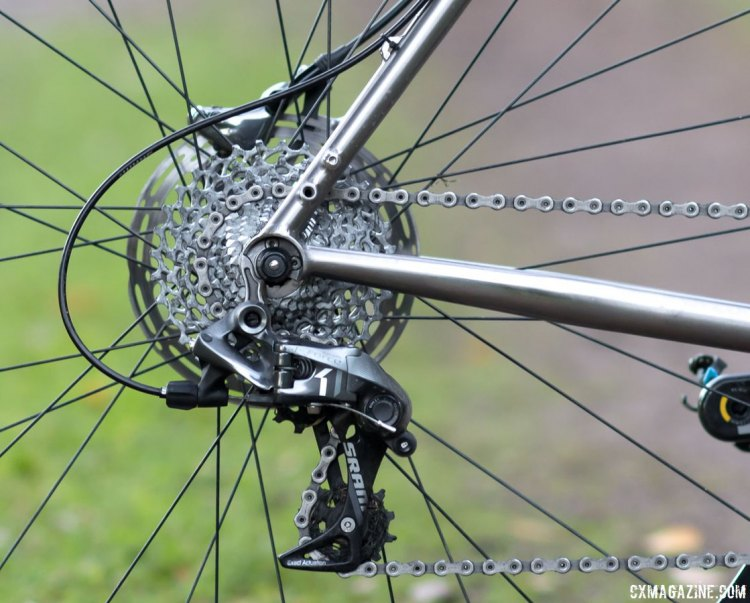 Dean Antero titanium cyclocross bike offers a replaceable derailleur hanger, rack and fender mounts and came dressed with a SRAM Force 1 drivetrain. © Cyclocross Magazine