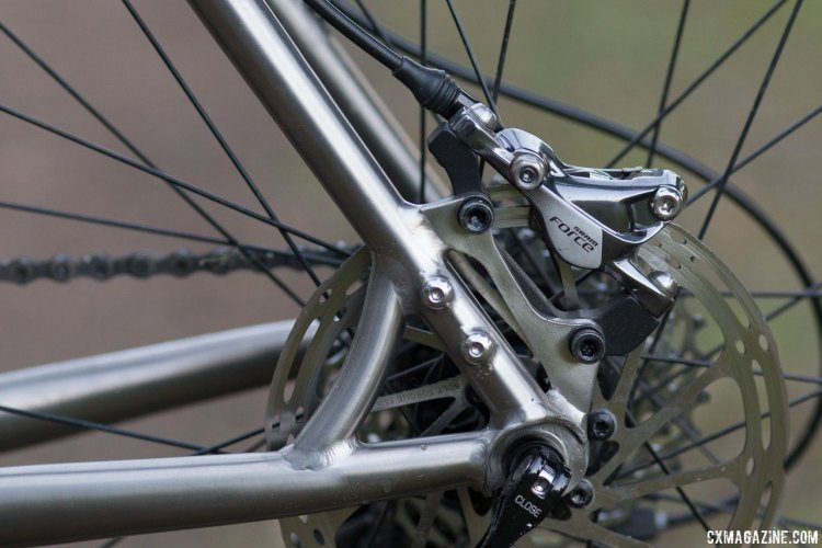 Quick release rear axle and IS brake mounts may not be the latest trends, but they're tried and true, especially on metal frames. Dean Antero titanium cyclocross bike. © Cyclocross Magazine