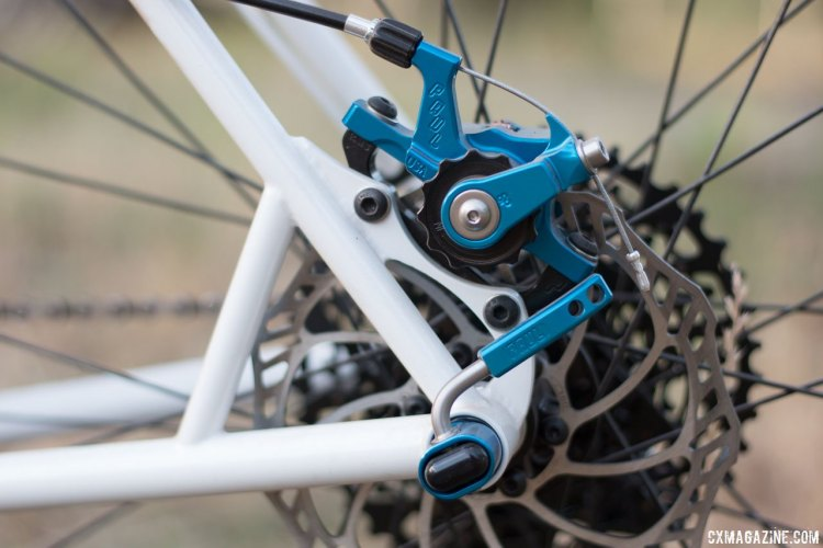 Falconer prefers IS caliper mounts for his frames. Paul Camp 2017. © Cyclocross Magazine