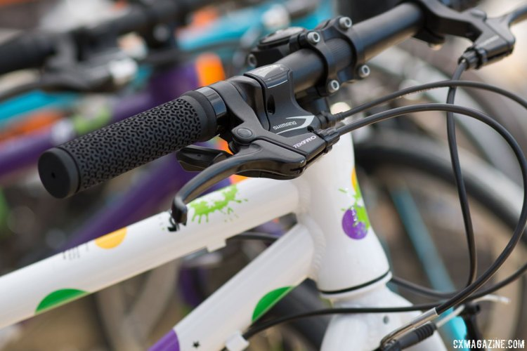 Frog Bikes brings trigger shifters, alloy frames and a colorful spot paint option. Kids' bikes companies multiply at the 2017 Sea Otter Classic. © Cyclocross Magazine