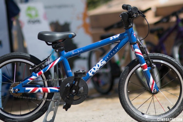 Frog Bikes' shows off its British roots with its Union Jack color scheme. Kids' bikes companies multiply at the 2017 Sea Otter Classic. © Cyclocross Magazine