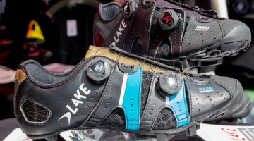 Lake Cycling's new MX241 Endurance mountain bike / cyclocross shoe comes in black or blue/gold and retails for $350. The name suggests that it should be a comfortable gravel shoe, or help you double up on race day. © Cyclocross Magazine
