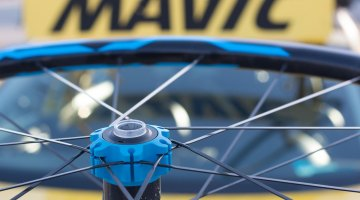 Straight pull bladed spokes might save a few minutes from your day-long gravel grind. Don't like blue? There's green and black options. The Mavic Elite XA Trail wheelset caught our eye, as the 25mm internal rim looks like a fine choice or tubeless cyclocross and gravel use. © Cyclocross Magazine