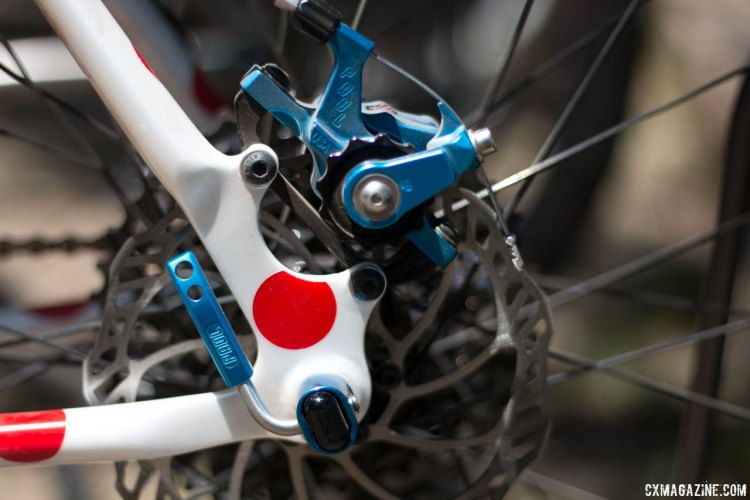 IS brake mounts and 142x12mm thru axle feature the some of the latest blue Paul Component Engineering bits with the Klamper brake and Quick Release Thru Axles. McGovern Cycles Custom Carbon Monster Cross. Paul Camp 2017. © Cyclocross Magazine