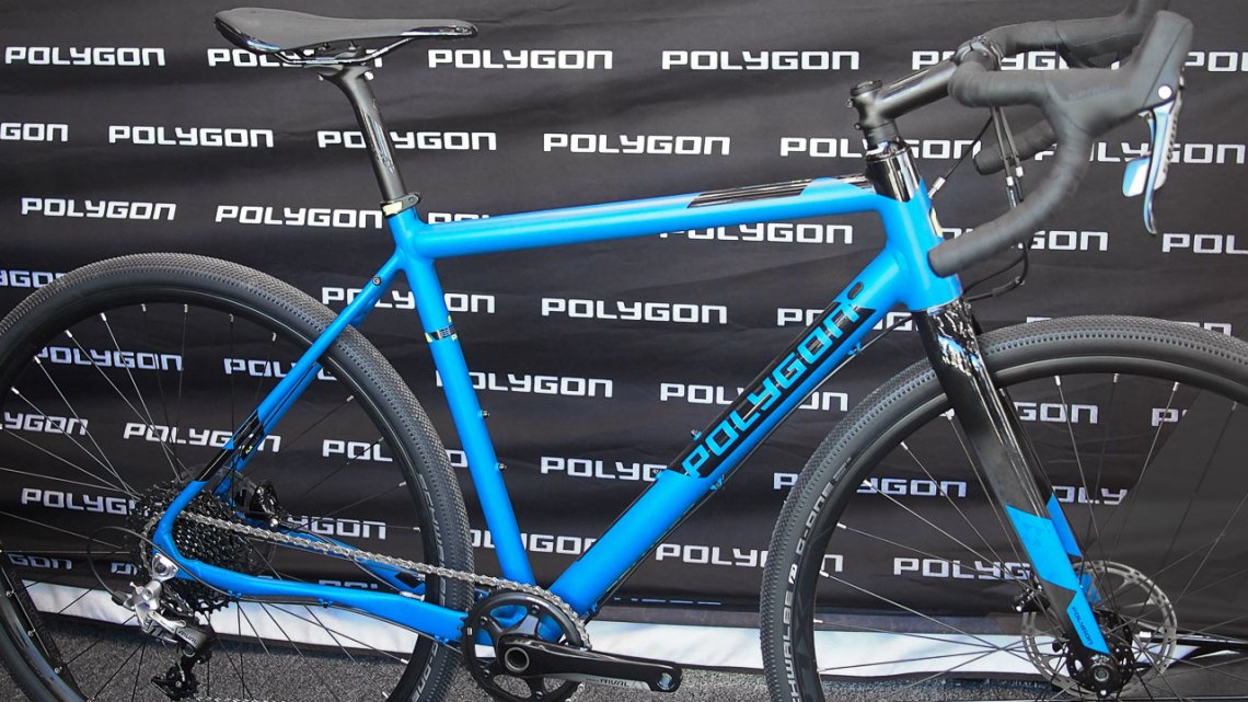 The Polygon Bend RV gets a SRAM Rival 1x11 drivetrain and SRAM Rival hydraulic brakes this year. 2017 Sea Otter Classic. © G. Kato / Cyclocross Magazine