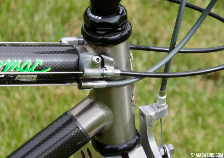 Housing stops and cable tension adjustments are oddly placed but within reach. Eric Rumpf's John Tomac replica 1991 Raleigh Signature ti/carbon drop bar mountain bike. © Eric Rumpf