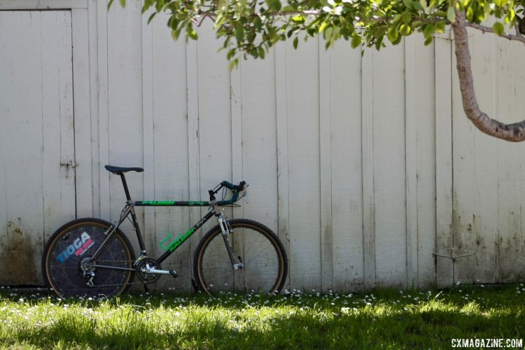 By way of Indonesia, like Tomac's own bike, this bike has traveled the world, seen some adventure, but now rests in San Jose. Eric Rumpf's John Tomac replica 1991 Raleigh Signature ti/carbon drop bar mountain bike. © Eric Rumpf