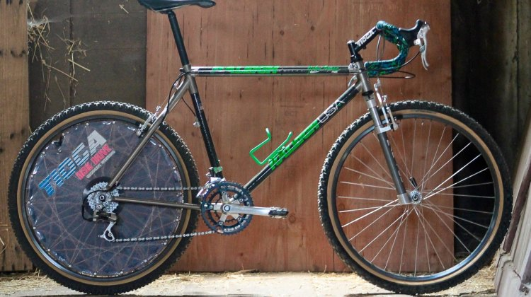 "It's iconic, rare, beautiful and prized, but Rumpf is the first to admit the ride is a little ""sketchy."" Eric Rumpf's John Tomac replica 1991 Raleigh Signature ti/carbon drop bar mountain bike. © Eric Rumpf"