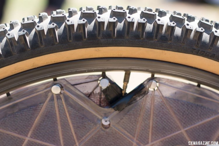 The Tioga Disk Drive makes inflation a challenge, but keeping the wheel in true or sneaking up on your competitors is even harder. Eric Rumpf's John Tomac replica 1991 Raleigh Signature ti/carbon drop bar mountain bike. © Cyclocross Magazine