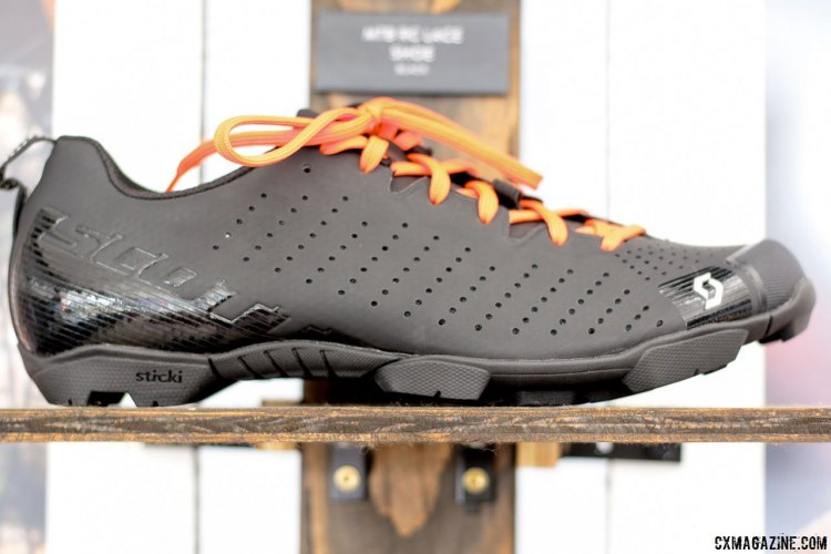 Scott MTB RC Lace shoe looks quite similar to the Giro Empire VR90 mtb lace shoe even in terms of the black/orange laces color combination, but the Scott retails for $100 less at $199. © Cyclocross Magazine