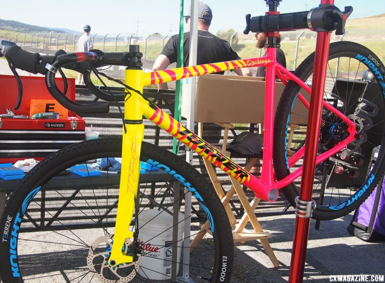 This hot pink and yellow tiger striped Cyclosys belongs to Zap Espinoza of Road Bike Action. 2017 Sea Otter Classic. © G. Kato / Cyclocross Magazine