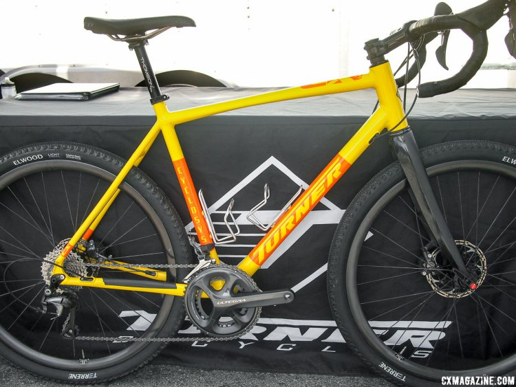 This limited edition yellow Cyclosys is shown with 650b Terrene Elwood tires in 47c width. 2017 Sea Otter Classic. © G. Kato / Cyclocross Magazine