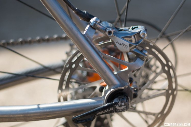 Why Cycles' R+ titanium road / cross / gravel bike with rear post mount calipers. © Cyclocross Magazine