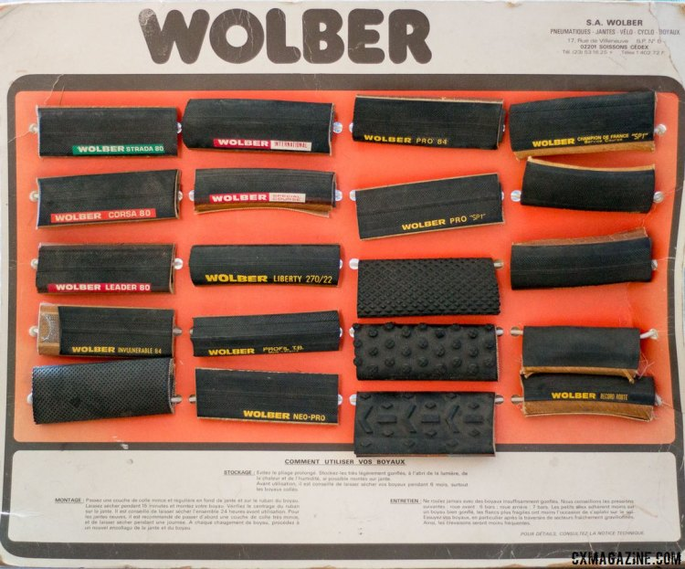 A vintage Wolber tubular display shows off just a subset of the tires offered by Wolber in the 80s. © Cyclocross Magazine