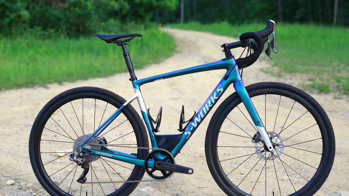 The $9,000 2018 Specialized Diverge includes the Future Shock micro-suspension, Di2 shifting and a dropper post and is designed specifically for gravel riding. (Photo courtesy Specialized)