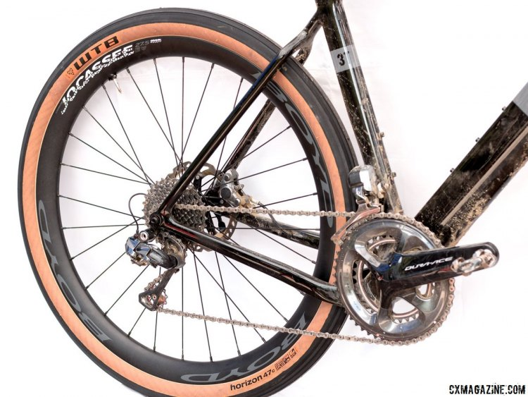 Boyd Cycling's new Jocassee 650b carbon gravel wheel was on display on a 3t Exploro bike. Press Camp 2017. © Cyclocross Magazine