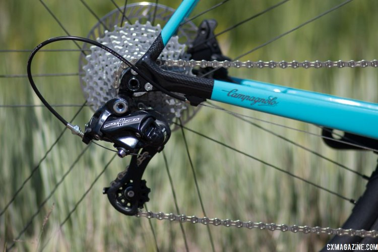 Campagnolo's Potenza, its top alloy group, with H11 hydraulic disc brakes. Press Camp 2017. © Cyclocross Magazine