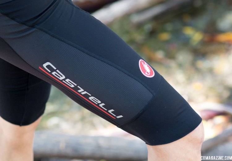 The Omloop thermal bib shorts are unique for their long length down to mid knee-Sort of between a short and knicker. Keeps the head of your quadraceps warmer without feeling as restrictive as knickers or knee warmers. Castelli Cycling. © Cyclocross Magazine