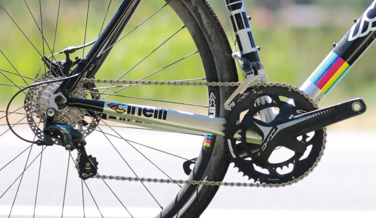The $1600 Cinelli Zydeco aluminum cyclocross/gravel bike with Shimano Tiagra drivetrain and FSA Omega crankset with 50/34 chainrings suggest the bike is aimed at dirt roads and gravel, not just cyclocross. Press Camp 2017. © Cyclocross Magazine