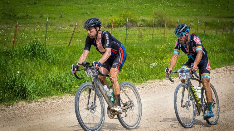 Stephens leads Wells at the 180 mile mark. 2017 Dirty Kanza gravel race. © Christopher Nichols