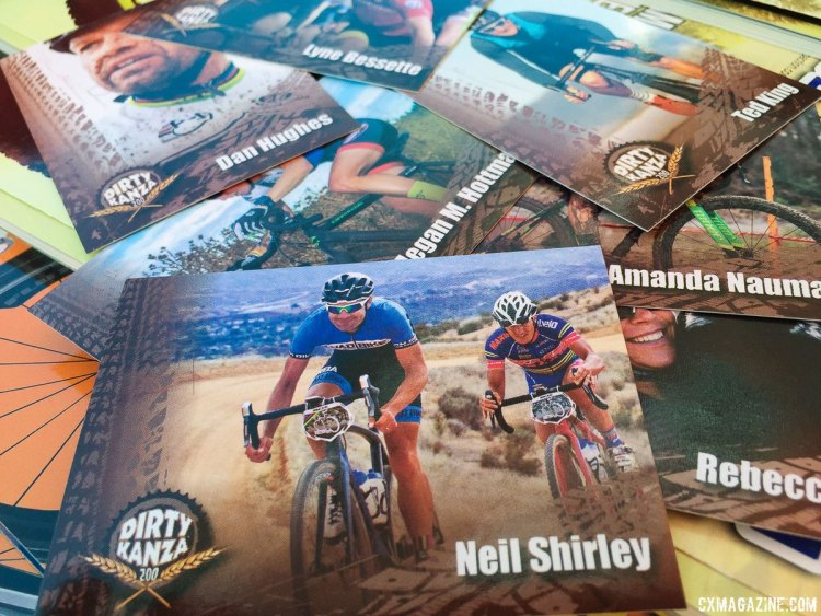 The event sure has come a long way, and now is complete with gravel superstar trading cards. Dirty Kanza gravel race. photo: Neil Shirley