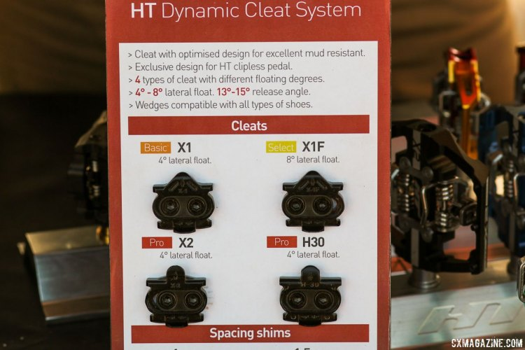 HT Components lets you customize your release angle with different cleats, and owners need to be careful in purchasing replacements (The X1/X1F work best with the M1 pedals). While the X1F adds more float, unlike Shimano's SH56 cleats, they're not multi-release. © Cyclocross Magazine