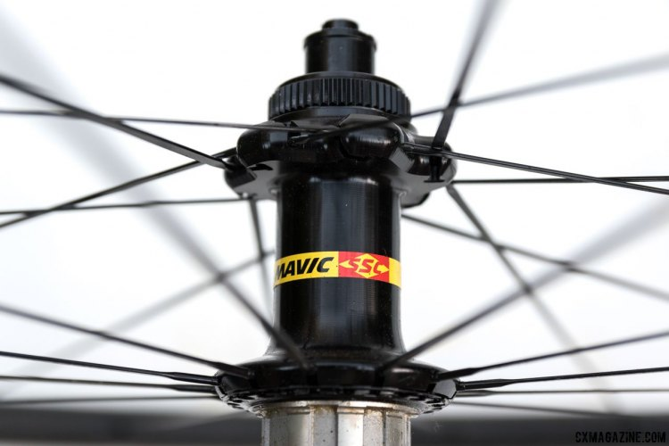 Centerlock rotor mounts. The Mavic SSC (Special Service Course) moniker has been used for their top line racing equipment since 1972. Mavic Ksyrium Pro SL T Disc tubular wheelset. © Cyclocross Magazine