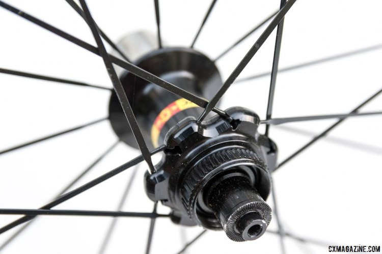 The Mavic Ksyrium Pro SL T Disc tubular wheelset features chamfered and rounded flanges for the straight-pull double butted bladed stainless spokes. © Cyclocross Magazine