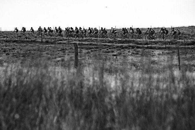 Neil Shirley enjoyed lead group gravel grinding until a flat tire ground him to a halt and ending his contention. 2017 Dirty Kanza race. © Ian Matteson / ENVE