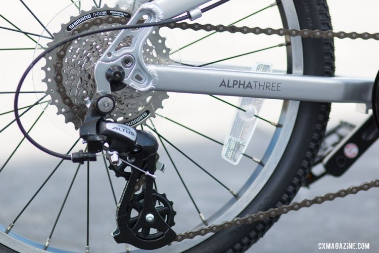 The shorter 8-speed Shimano Altus pulley cage is designed to keep the rear derailleur away from the ground. © Cyclocross Magazine