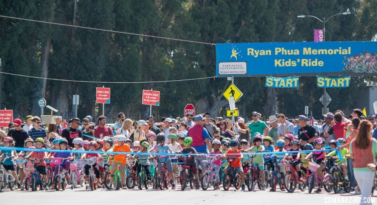 Ryan Phua Memorial Kid's Ride at the Burlingame Criterium is one of the largest kid's races in the area at a price that can't be beat. © Cyclocross Magazine
