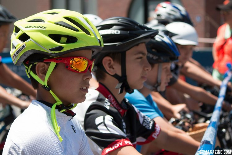 Some in the oldest age group is all business before the start, but the event is about fun and fundraising for fighting cancer. Ryan Phua Memorial Kid's Ride at the Burlingame Criterium. © Cyclocross Magazine