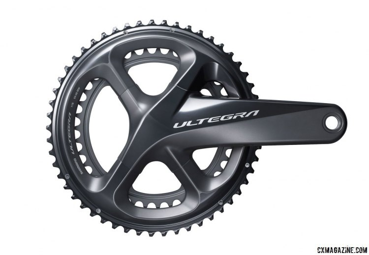 Shimano's new Ultegra R8000 component group has shifted its chainring tooth profiles to better accomodate 135mm axle spacing and short 41cm chainstays without increasing Q factor. © Cyclocross Magazine