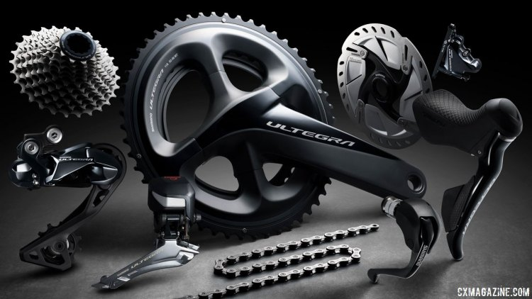 Shimano's new Ultegra R8050/8070 Di2 component group lurks in the shadows with a new Shadow rear derailleur, redesigned chainring tooth profiles and wider range gearing. © Cyclocross Magazine