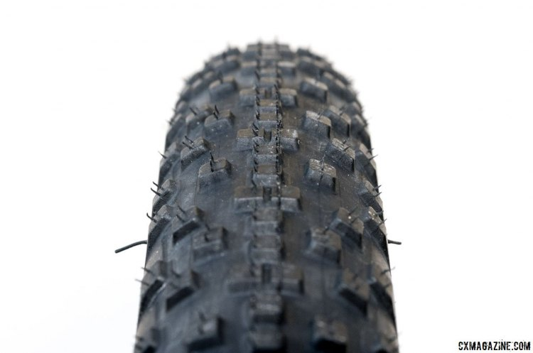 The WTB Resolute 42 has a round profile with central knobs aligned for a smooth-rolling center tread. WTB Resolute 42 gravel tire. © Cyclocross Magazine