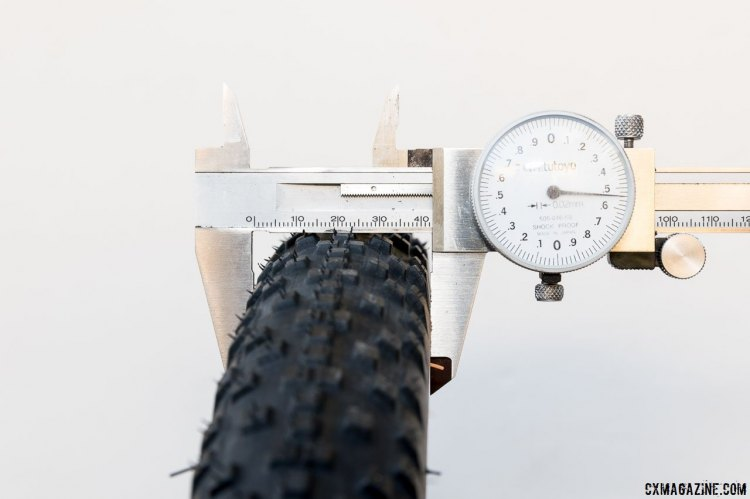 True to size: 42mm on a rim with an ID of 17.5mm, pumped to 30 psi. WTB Resolute 42 gravel tire. © Cyclocross Magazine