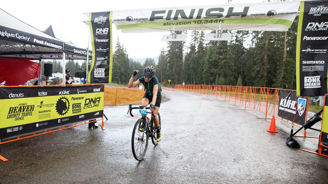 Janel Holcomb didn't escape the rain, but she did outlast her competitors. 2017 Crusher in the Tushar © C. Fegan-Kim