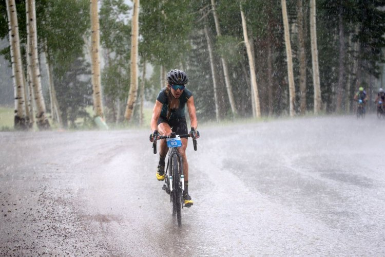 The rain came in hour five, making the road tougher for Women's winner Janel Holcomb and much of the field. 2017 Crusher in the Tushar © C. Fegan-Kim