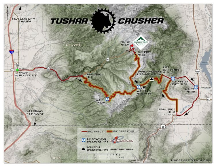 The 2017 Crusher in the Tushar features over 10,000 of elevation gain on a route that heads into the Tushar Mountains of Utah. (photo: Crusher in the Tushar)