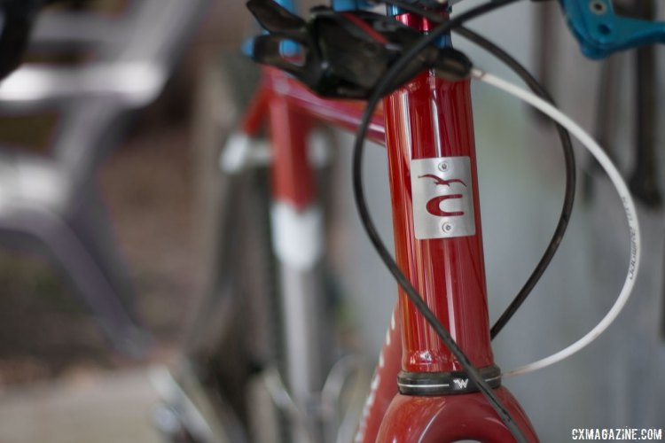 A stainless head badge adds a classy touch to the Caletti Cycles' ride. © Cyclocross Magazine