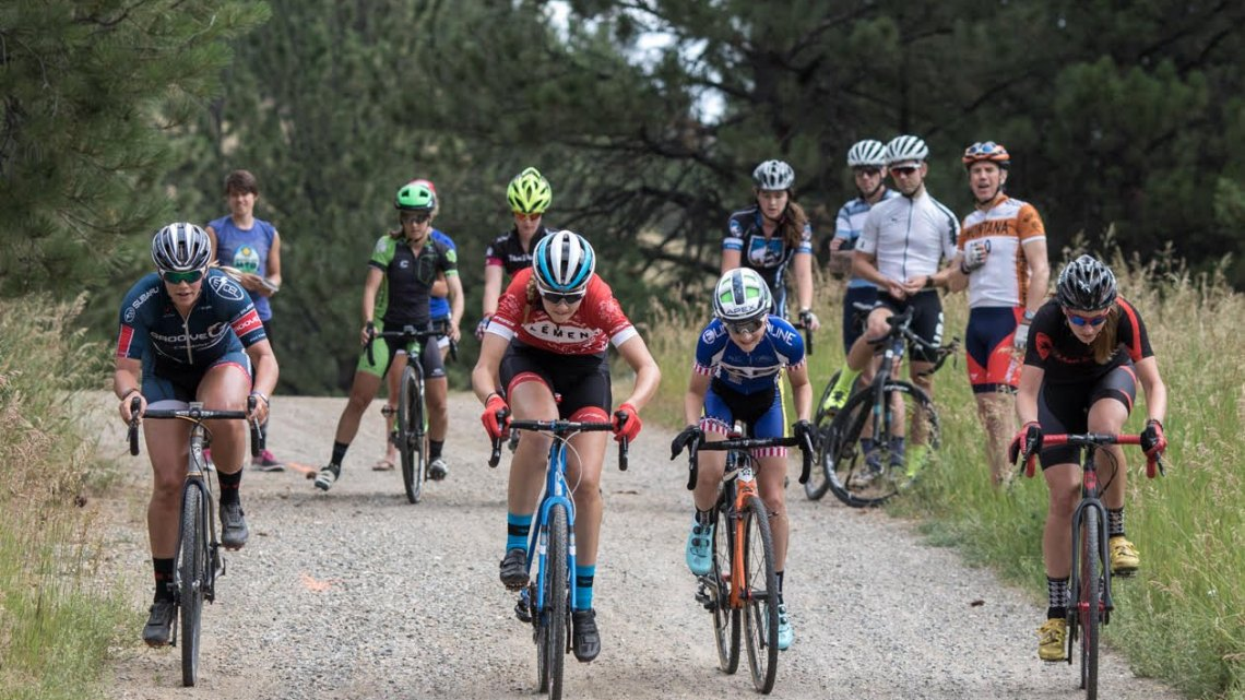 Friendly competition keeps the workouts fun and challenging. Montana Cross Camp, Women, 2017. © Tom Robertson